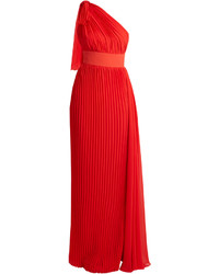 One shoulder pleated georgette gown medium 3758207