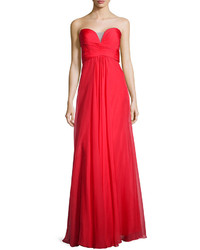 Ruched strapless chiffon gown red medium 305650