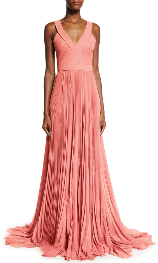 J. Mendel Sleeveless V Neck Pleated Gown Coral | Where to buy & how ...