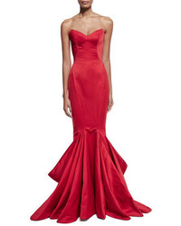 Strapless pleated mermaid gown hibiscus medium 3750158