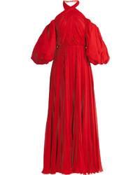 Twist neck pleated silk chiffon gown medium 6460384