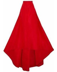 Carolina Herrera Flared Pleated Silk Faille Maxi Skirt