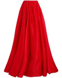 Reem Acra Pleated Silk Gazar Maxi Skirt Red