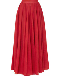 Three Graces London Arlene Ramie Maxi Skirt Red