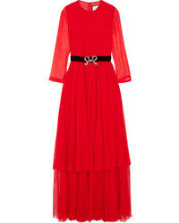 Crystal embellished pleated silk chiffon midi dress red medium 4393208