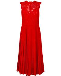 Valentino Heavy Lace Pleated Midi Dress