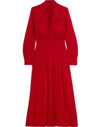 Joseph Josie Pleated Stretch Silk Crepe De Chine Midi Dress Red