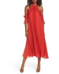 True Decadence By Glamorous Lace Trim Pleated Midi Dress