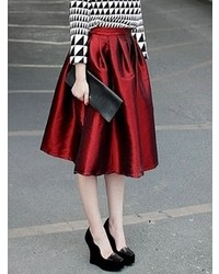 Flare Pleated Midi Rose Red Skirt | Where to buy & how to wear