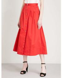 Maje Jupalo Cotton Midi Skirt