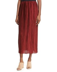 The Row Juri Pleated Silk Midi Skirt Dark Red