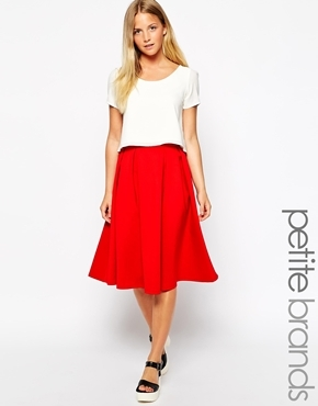 Girls On Film Petite Petite Midi Full Skirt Redorange | Where to ...