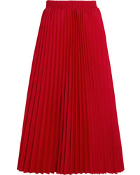 Balenciaga Pleated Crepe Midi Skirt Red