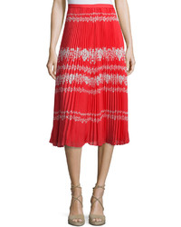 Self-Portrait Pleated Flower Spell Midi Skirt Redcream