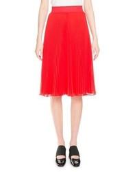 Givenchy Pliss Elastic Waist Midi Skirt Red