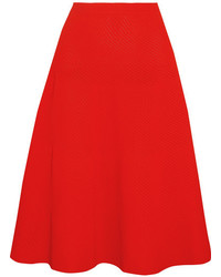 Victoria Beckham Ribbed Pointelle Knit Skirt Tomato Red