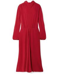 Prada Pleated Silk De Chine Midi Dress