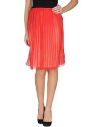 Red Pleated Silk Midi Skirt