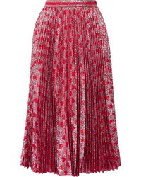 Gucci Pleated Printed Lam Skirt Red