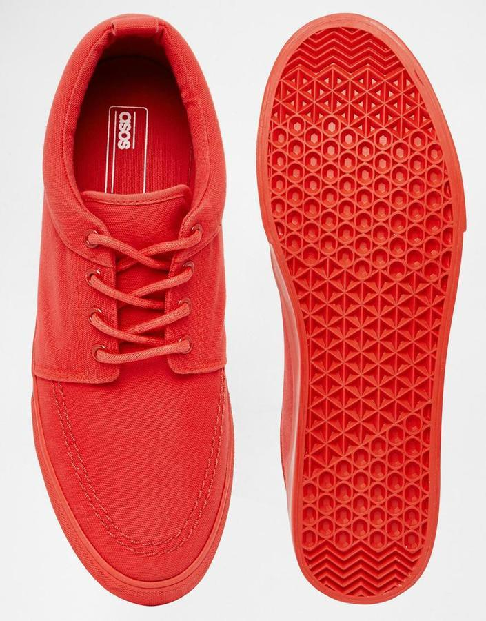 good out x usa cheap sale new products Brand Lace Up Sneakers In Red Canvas With Back Pull