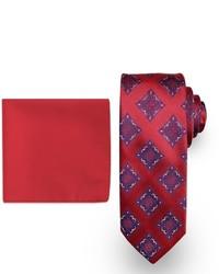 Big Tall Steve Harvey Extra Long Medallion Tie Solid Pocket Square