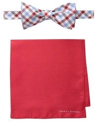 Tommy Hilfiger Gingham Solid Bowtie And Pocket Square Settie And Pocket Square Set