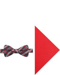 JF J.Ferrar Jf J Ferrar Gridlock Plaid Pre Tied Bow Tie And Pocket Square Set