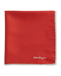 Salvatore Ferragamo Silk Twill Pocket Square Red