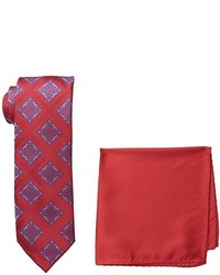 Steve Harvey Tall Extra Long Medallion Necktie And Solid Pocket Square