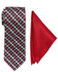 Uspa Us Polo Assn Check Tie And Solid Pocket Square Set