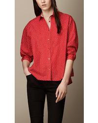 Burberry Polka Dot Cotton Linen Shirt
