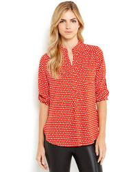 Polka dot patch pocket blouse medium 85347