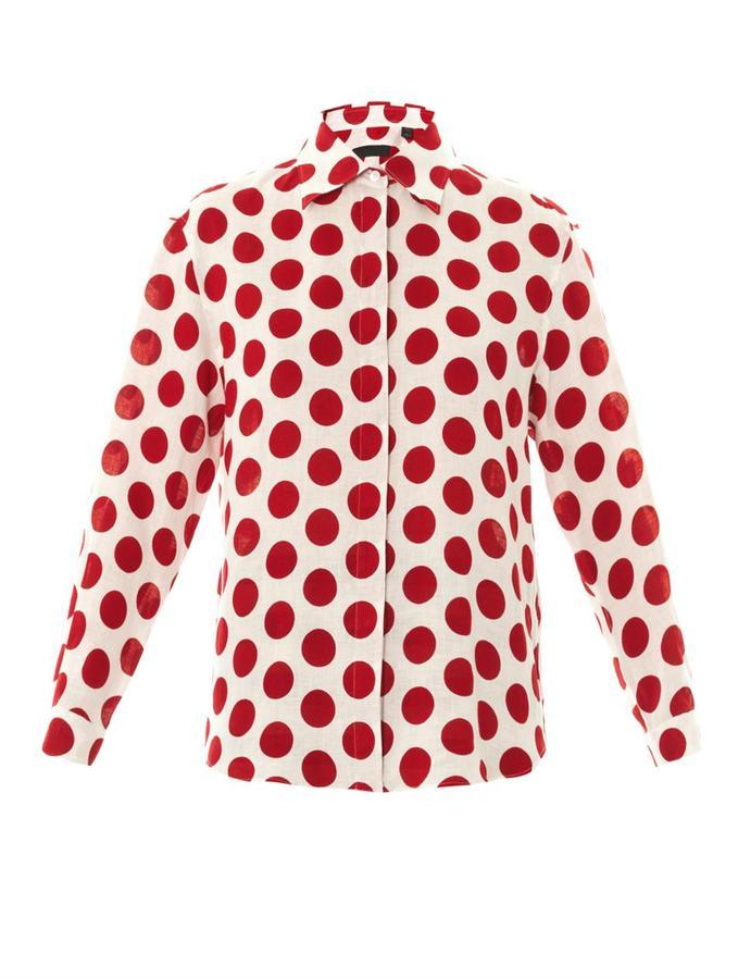 Burberry prorsum large polka dot linen shirt for White red polka dot shirt