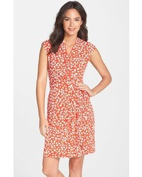 Dot print jersey faux wrap dress medium 315186