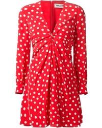 Saint laurent gathered polka dot dress medium 315156
