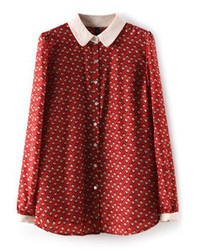 Mini houses print chiffon red shirt medium 43742