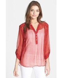 Roll sleeve sheer polka dot blouse medium 43743