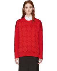 Junya Watanabe Red Jacquard Polka Dot Sweater