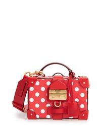 Moschino Polka Dot Box Leather Crossbody Bag