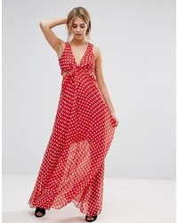 Red Polka Dot Maxi Dress
