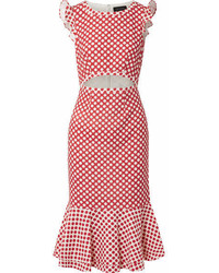 Red Polka Dot Midi Dress