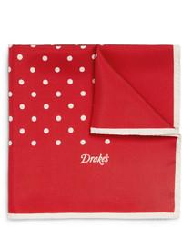 Drakes Drakes Polka Dot Silk Pocket Square