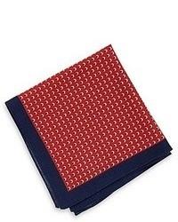 Hugo Boss Pocket Square Wool Silk Print Navy