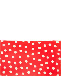 Saint Laurent Red Polka Dot Silk Scarf