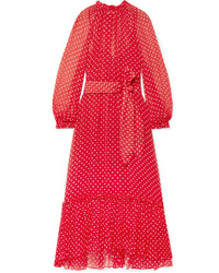 Zimmermann Ninety Six Swing Polka Dot Silk Tte Midi Dress