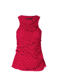 Haider Ackermann Polka Dot Ruched Tank Top
