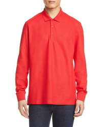 Burberry Eddie Tb Monogram Long Sleeve Pique Polo