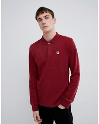 Fila White Line Bertoni Long Sleeve Polo Shirt In Red