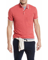 Brunello Cucinelli Contrast Tipped Cotton Polo Shirt