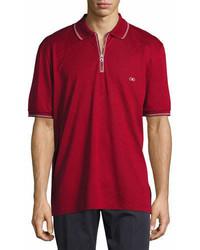 Salvatore Ferragamo Cotton Piqu Zip Polo Shirt With Gancini Chest Embroidery Redwhite